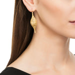 18K GOLD FLORENTINE DROP LACE EARRINGS