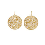 18K GOLD PAVÉ DIAMOND ROUND LACE EARRINGS