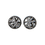18K GOLD & BLACKENED RHODIUM PAVE DIAMOND ROUND LACE STUD EARRINGS