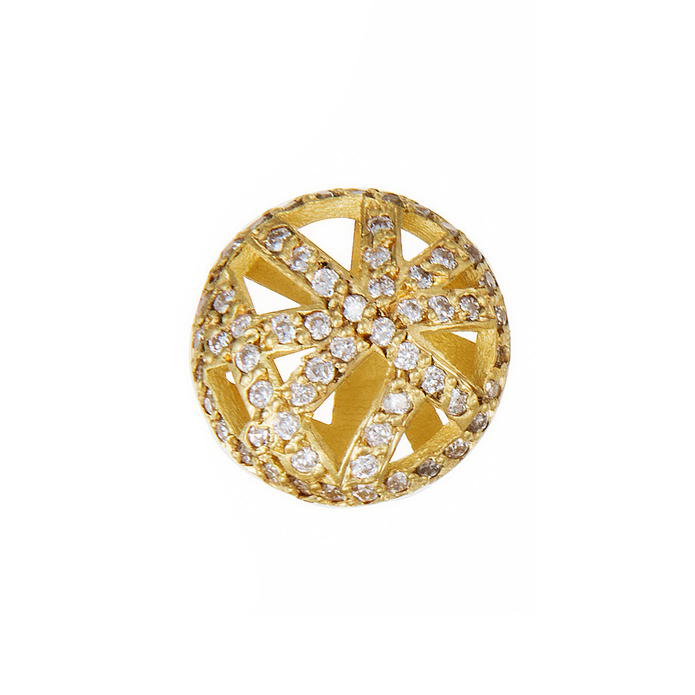 18K GOLD PAVÉ DIAMOND ROUND LACE STUD EARRINGS