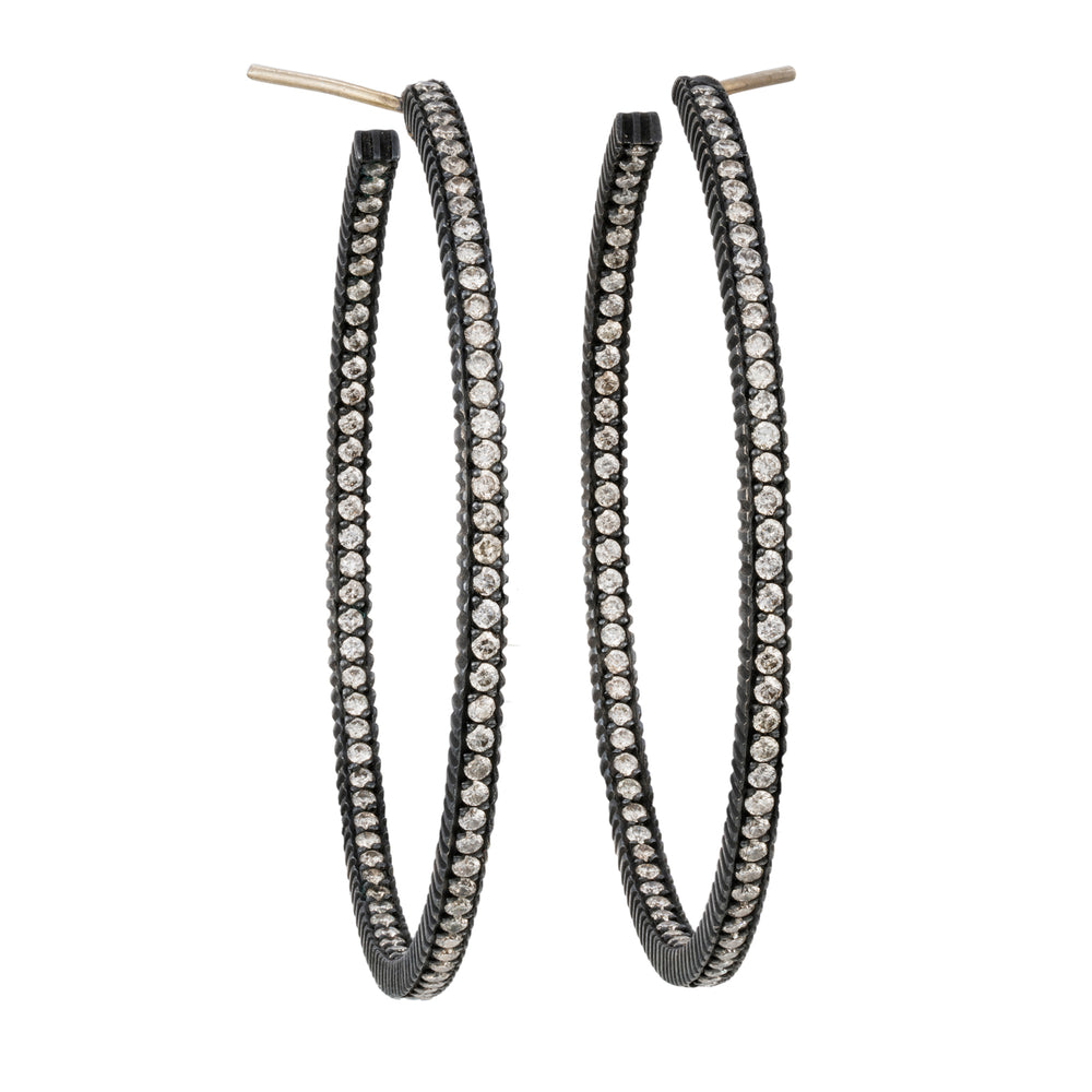 OXIDIZED GILVER PAVÉ DIAMOND LILAH HOOP EARRINGS