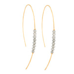 18K GOLD & DIAMOND BEADS HOOP THREADER EARRINGS