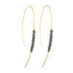 18K GOLD & BLACK DIAMOND BEADS HOOP THREADER EARRINGS