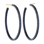 OXIDIZED GILVER PAVE DARK BLUE SAPPHIRE LILAH HOOP EARRINGS