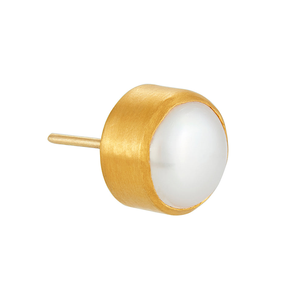 24K GOLD LARGE PEARL STUD EARRINGS