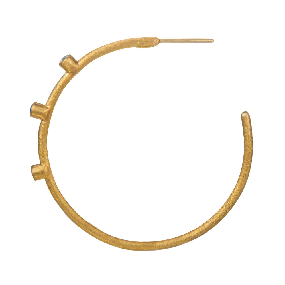 24K GOLD DIAMOND JANE HOOP EARRINGS