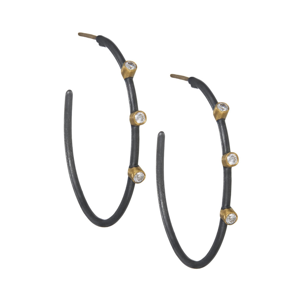 24K GOLD & OXIDIZED GILVER DIAMOND JANE HOOP EARRINGS