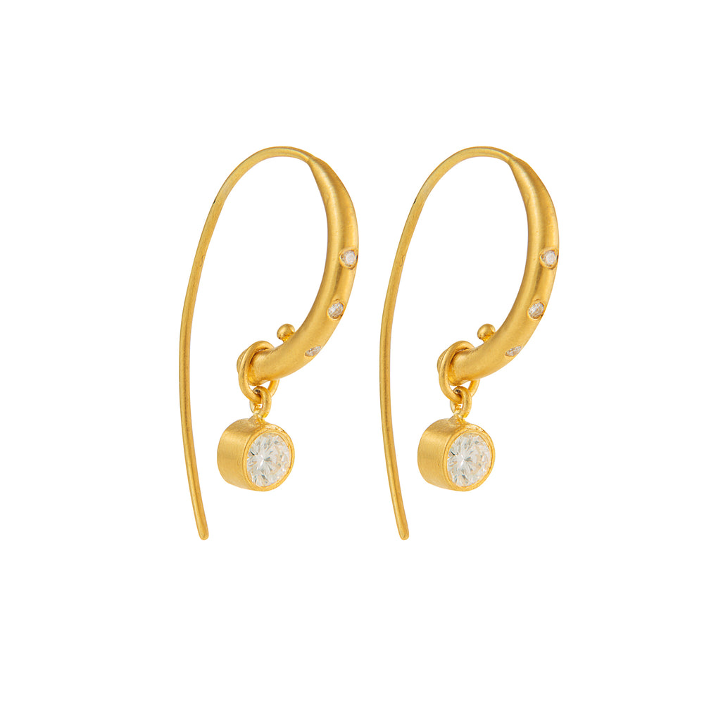 24K GOLD DIAMOND REYNA HOOP EARRINGS