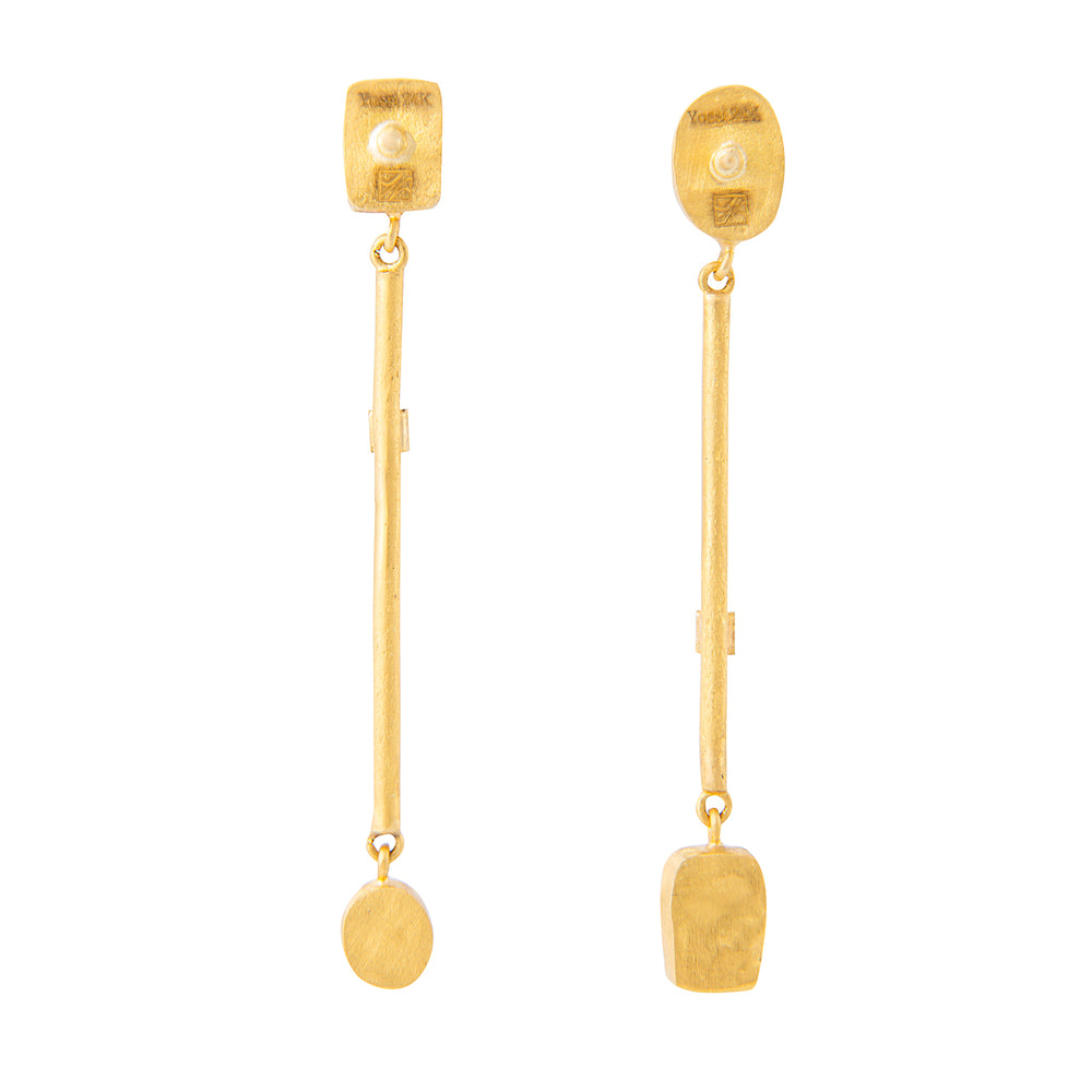 24K GOLD GEMSTONE & DIAMOND BAR REYNA EARRINGS