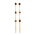 24K GOLD RED GEMSTONE BAR REYNA EARRINGS