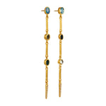 24K GOLD BLUE GEMSTONE BAR REYNA EARRINGS