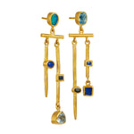 24K GOLD BLUE MIX GEMSTONE REYNA EARRINGS
