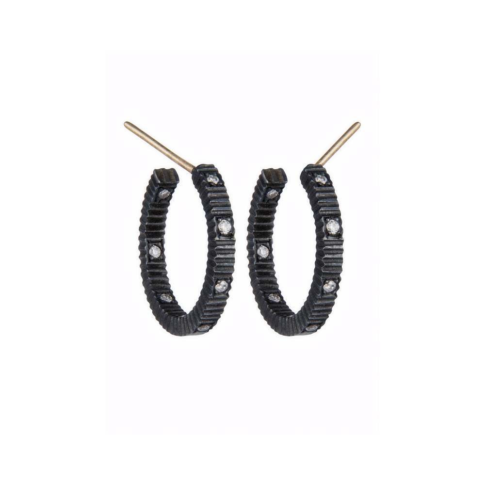 OXIDIZED GILVER DIAMOND LILAH HOOP EARRINGS