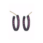 OXIDIZED GILVER RUBY PAVÉ LILAH HOOP EARRINGS