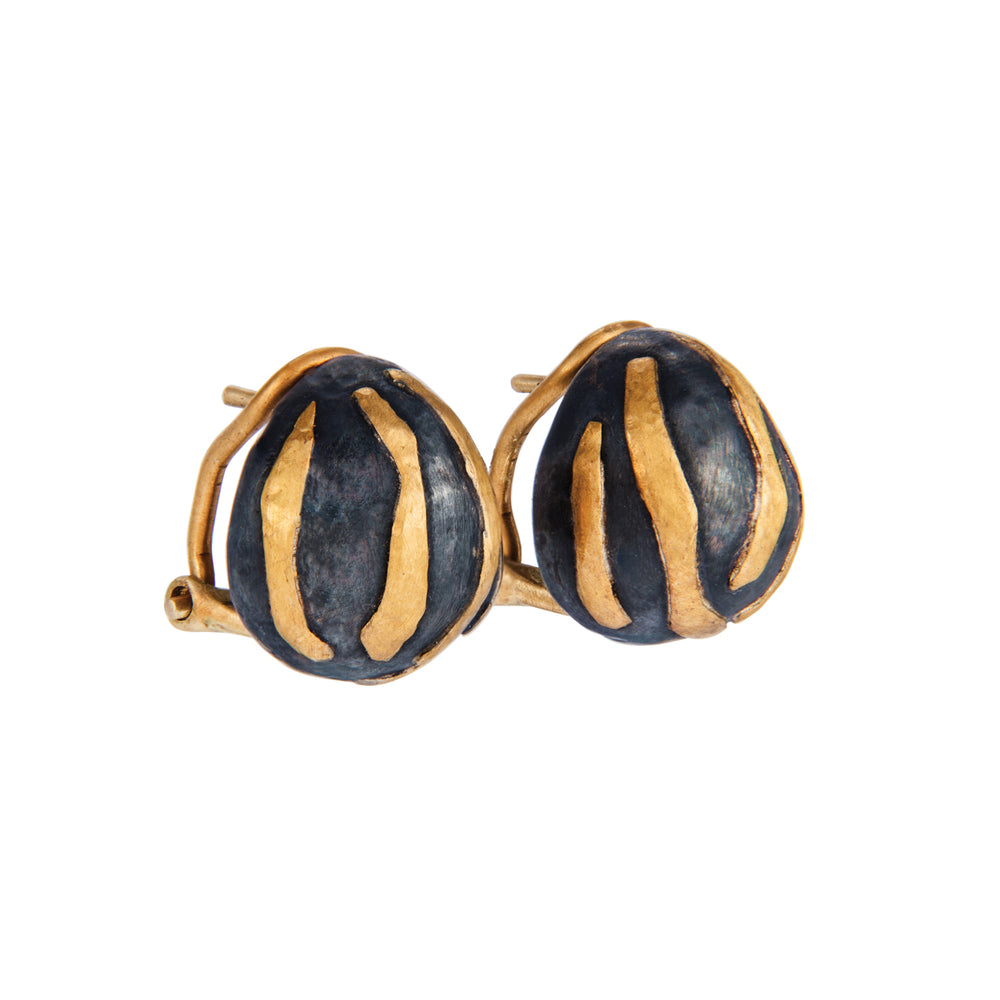 24K GOLD & OXIDIZED GILVER DIAMOND FRENCH CLIP LIBRA EARRINGS
