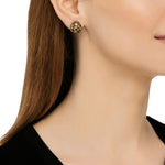 24K GOLD & OXIDIZED GILVER FRENCH CLIP LIBRA EARRINGS
