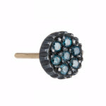 OXIDIZED GILVER BLUE DIAMOND LILAH STUD EARRINGS