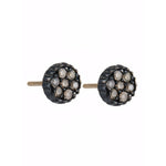 OXIDIZED GILVER CHAMPAGNE DIAMOND LILAH STUD EARRINGS