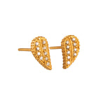 18K GOLD WHITE DIAMOND DROP SHAPE LILAH STUD EARRINGS