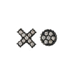 OXIDIZED GILVER DIAMOND XO LILAH STUD EARRINGS