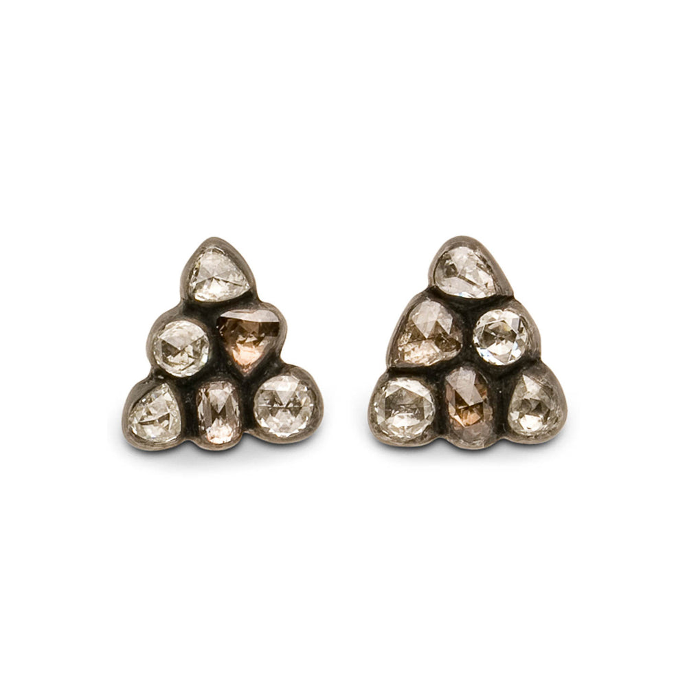 OXIDIZED GILVER DIAMOND CASCADE CLUSTER STUD EARRINGS