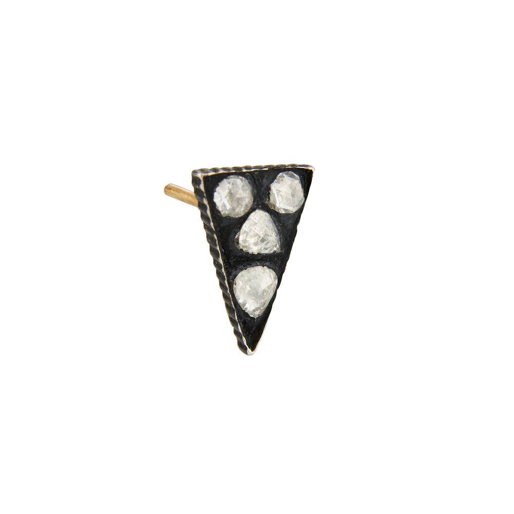 OXIDIZED GILVER TRIANGULAR MOSAIC SARA STUD EARRINGS