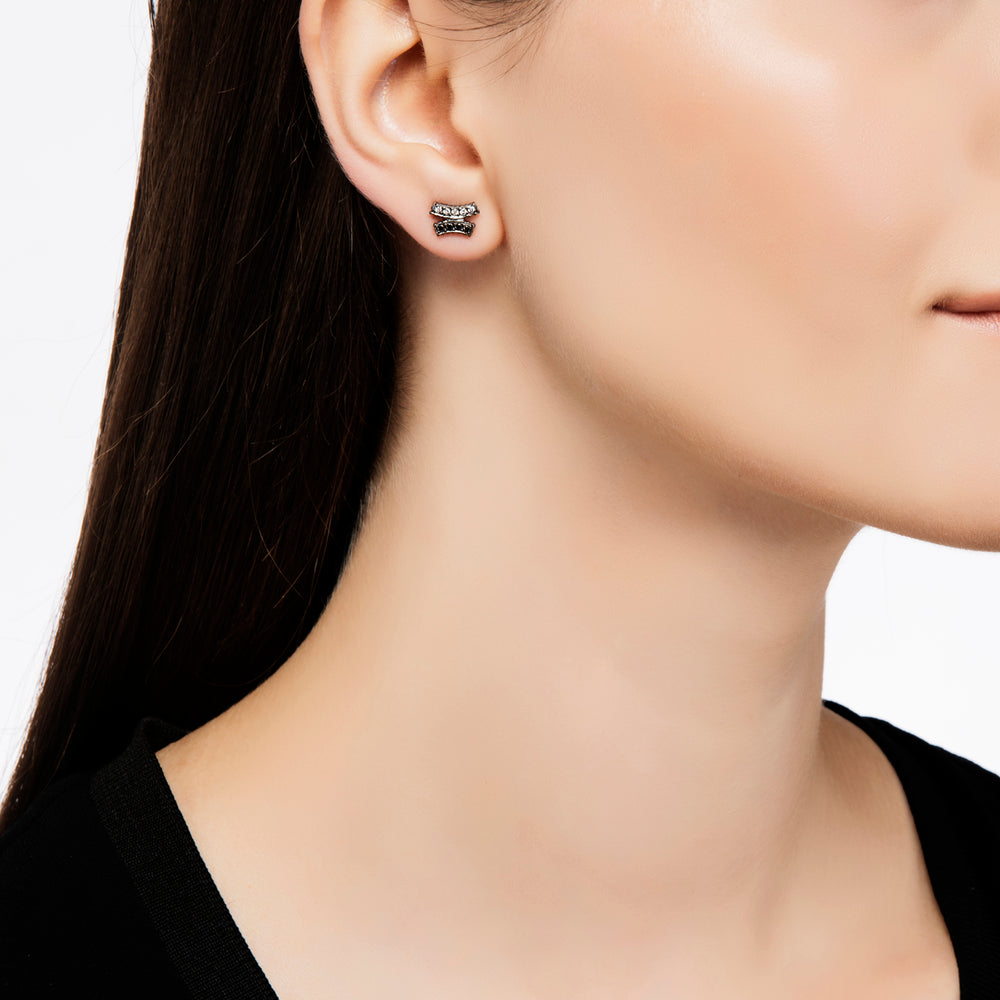 BLACK AND WHITE DIAMOND LILAH CRISSCROSS STUD EARRINGS