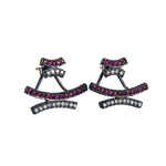 OXIDIZED GILVER RUBY AND WHITE DIAMOND CRISSCROSS STUD EARRINGS