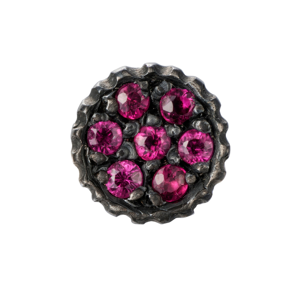 OXIDIZED GILVER PAVE RUBY LILAH STUD EARRINGS