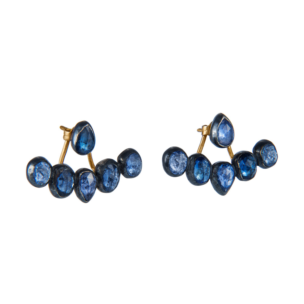OXIDIZED GILVER BLUE SAPPHIRE CASCADE EAR JACKET EARRINGS