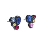 OXIDIZED GILVER MULT-COLORED SAPPHIRE CASCADE CLUSTER STUD EARRINGS