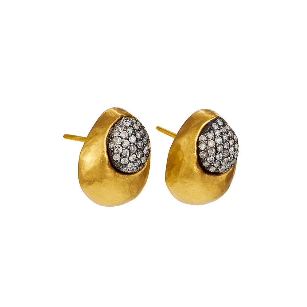 24K GOLD & PAVE DIAMOND BEAD ROXANNE CLIP-ON EARRINGS
