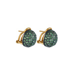 24K GOLD & OXIDIZED GILVER TSAVORITE CLIP-ON ROXANNE EARRINGS