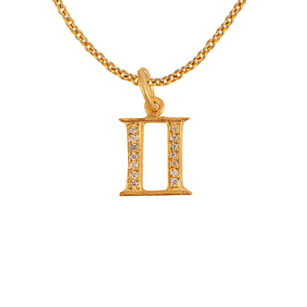 PAVÉ DIAMOND GOLD PLATED ZODIAC PENDANT