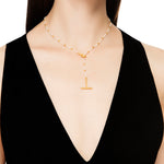 24K GOLD BAMBOO PEARL BEADED NECKLACE
