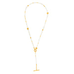 24K GOLD MIX ELEMENTS PEARL BEADED NECKLACE