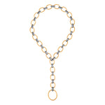 24K GOLD & OXIDIZED GILVER DIAMOND LINK RACHEL NECKLACE