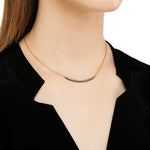18K GOLD & OXIDIZED GILVER WHITE DIAMOND LILAH SMILE NECKLACE