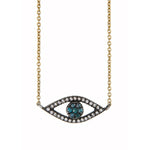 18K GOLD WHITE & TEAL DIAMOND LILAH EYE NECKLACE