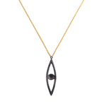 18K GOLD WHITE & TEAL DIAMOND LILAH EYE SHAPED PENDANT NECKLACE