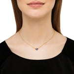 18K GOLD BLUE SAPPHIRE SINGLE PENDANT CASCADE NECKLACE