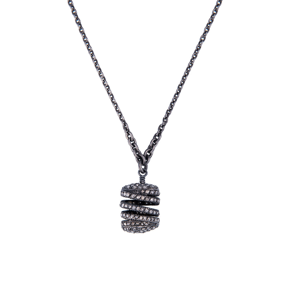 OXIDIZED GILVER & DIAMOND CAGE PENDANT NECKLACE