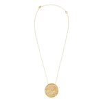 18K GOLD DIAMOND LARGE ROUND PENDANT LACE NECKLACE