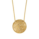 18K GOLD DIAMOND MEDIUM ROUND PENDANT LACE NECKLACE