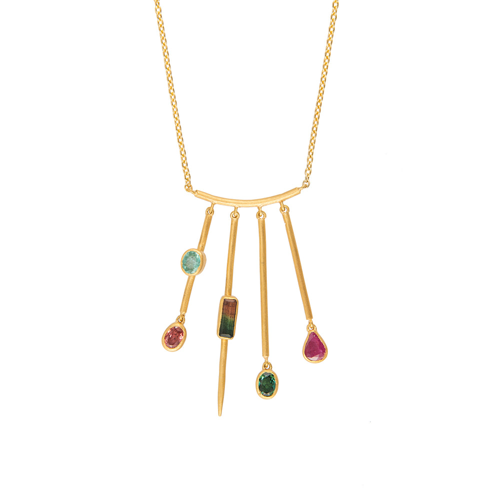 24K GOLD GEMSTONE 4-BAR REYNA NECKLACE