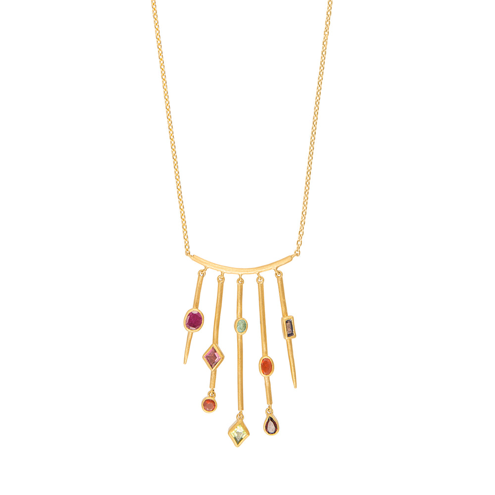 24K GOLD GEMSTONE 5-BAR REYNA NECKLACE