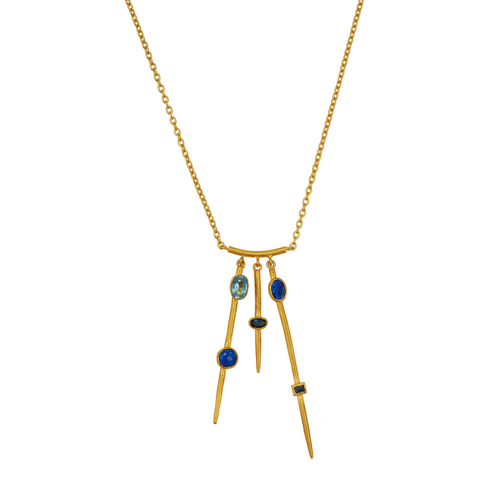 24K GOLD TRIPLE BAR BLUE MIX GEMSTONE REYNA NECKLACE