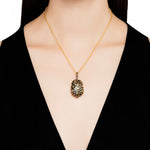 24K GOLD, OXIDIZED GILVER & DIAMOND LIBRA PENDANT