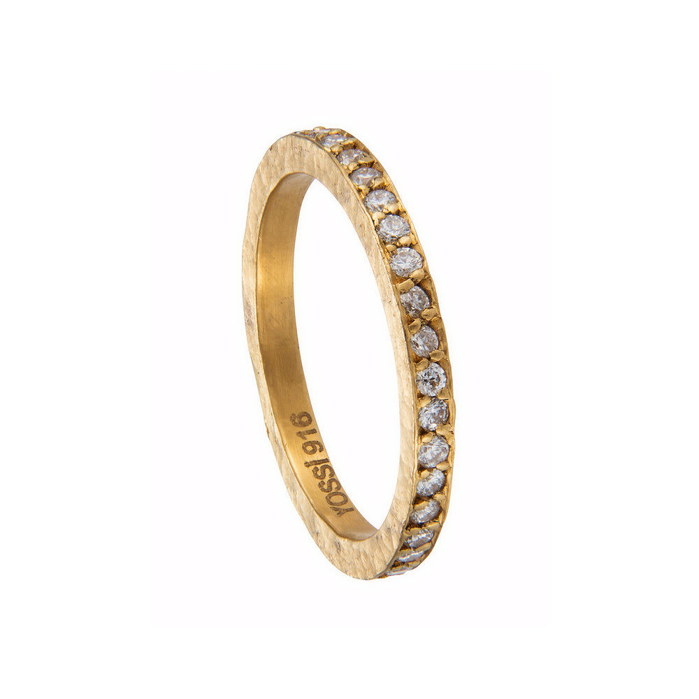 24K GOLD COGNAC ROSE-CUT DIAMOND BAND