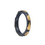 24K GOLD & OXIDIZED GILVER LIBRA STACK RING